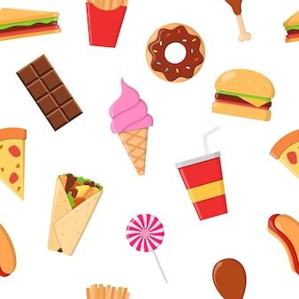 Patrón de seamlees de comida chatarra