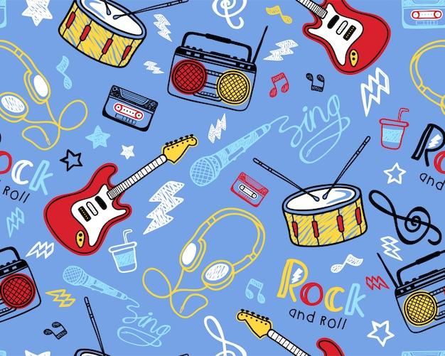 Patrón de seamles con instrumento musical dibujado a mano.