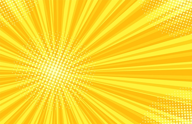 Patrón de semitono de arte pop. fondo de cómic starburst. textura de duotono amarillo.