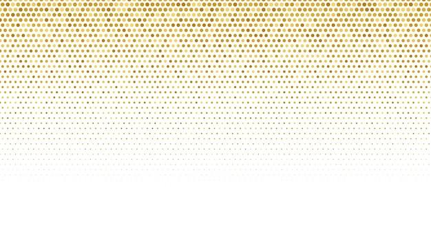 Patrón de semitono dorado sobre fondo blanco.