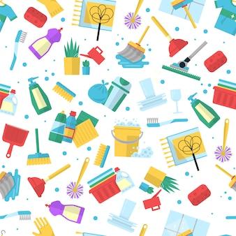Patrón de servicio de limpieza. artículos para el hogar para ropa limpia y seca en polvo cepillos trapos fondo transparente