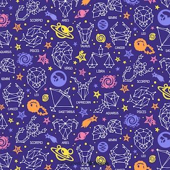 Patrón signos del zodíaco dibujados a mano