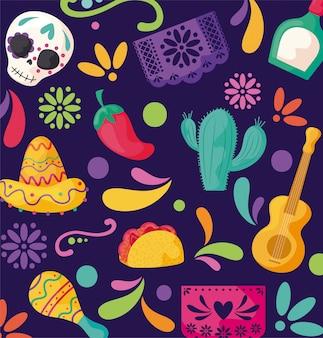 Patrón con símbolo mexicanos, fiesta cinco de mayo