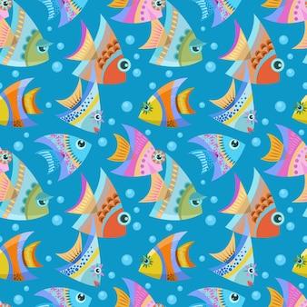 Patrón sin fisuras de diseño gráfico vectorial pescado