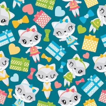 Patrón sin fisuras de niña mapache y coloridas cajas de regalo para papel pintado de niño