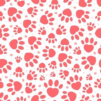 Patrón sin fisuras de san valentín con huella de mascotas
