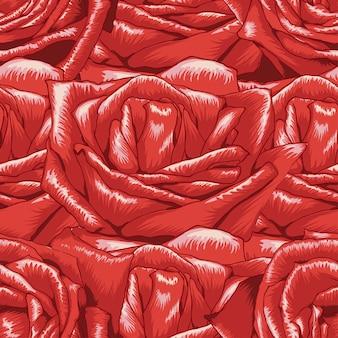 Patrón sin fisuras fondo de flores rosas rojas.