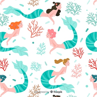 Patrón sirena colorida dibujada a mano