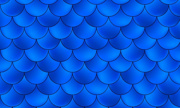 Patrón de sirena kawaii. escamas de pescado. color azul. .