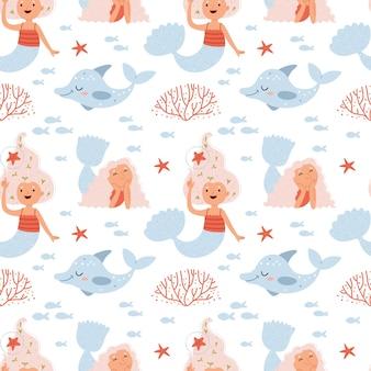 Patrón de sirenas y delfines.patrón de verano sobre el mundo submarino en colores rosados.