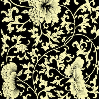 Patrón sobre fondo negro con flores chinas.