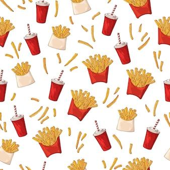 Patrón sobre el tema de la comida rápida: papas fritas.