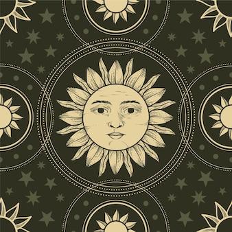 Patrón de sol dibujado a mano grabado