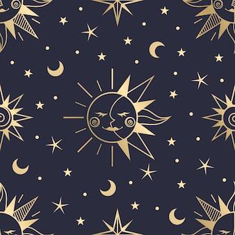 Patrón de sol dibujado a mano