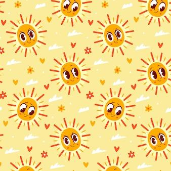 Patrón de sol de dibujos animados dibujados a mano