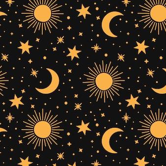 Patrón de sol, luna y estrellas de diseño plano