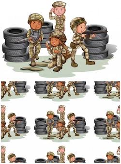 Patrón de soldados sin costura aislado en blanco