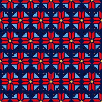 Patrón de songket con formas decorativas de colores