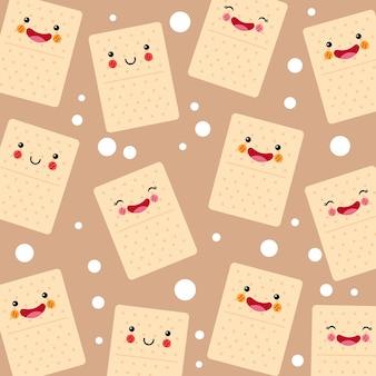 Patrón sonriente de galletas de soda lindo y divertido