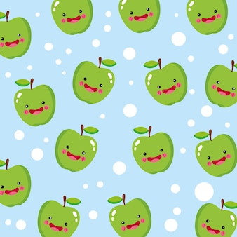 Patrón sonriente de manzana lindo y divertido