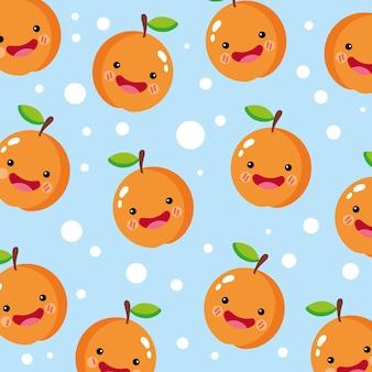 Patrón sonriente naranja lindo y divertido