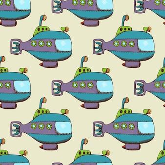 Patrón submarino plano sin costuras. fondo con transporte submarino.