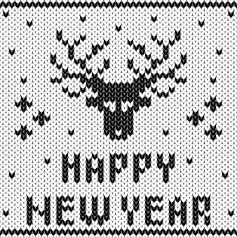 Patrón de suéter de punto de navidad y año nuevo.