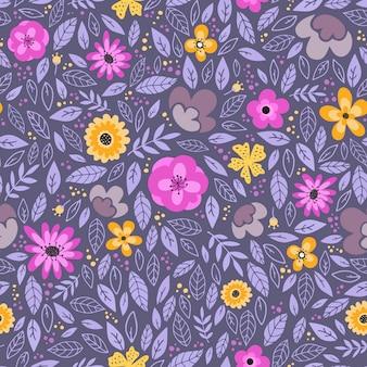 Patrón de superficie sin costuras con flores y hojas