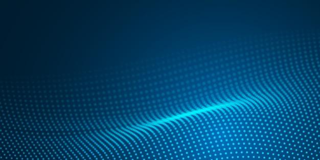 Patrón de superficie de punto de onda de luz azul abstracto sobre fondo oscuro.