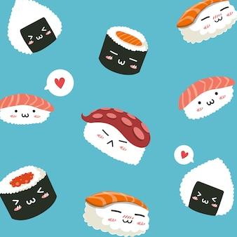 Patrón de sushi comida japonesa lindo personaje,