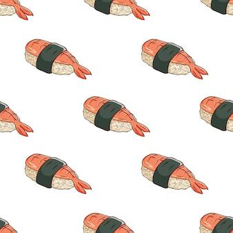 Patrón de sushi ebi en estilo dibujado a mano