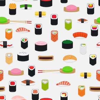 Patrón de sushi con elementos planos de colores en blanco