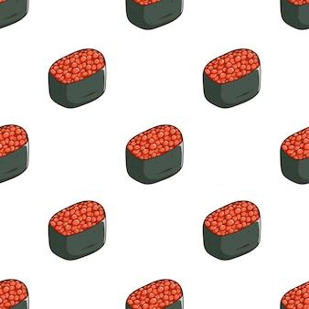 Patrón de sushi ikura con estilo de dibujo coloreado
