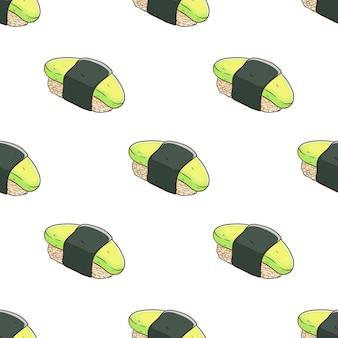 Patrón de sushi con lindo estilo de dibujo colorido