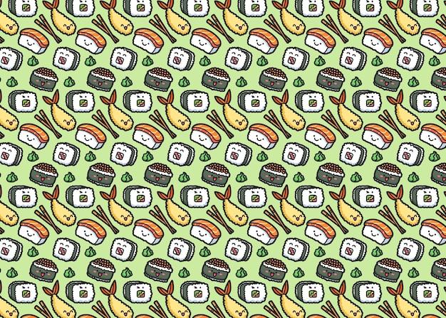 Patrón de sushi transparente de vector