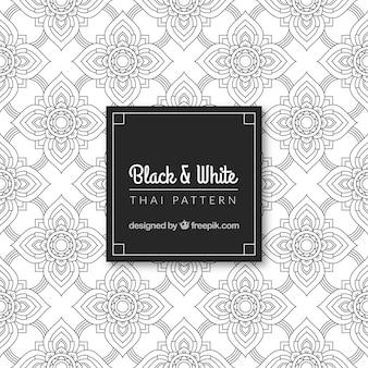 Patrón tailandés en blanco y negro con diseño elegante