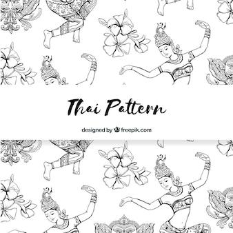 Patrón tailandés en blanco y negro con estilo elegante