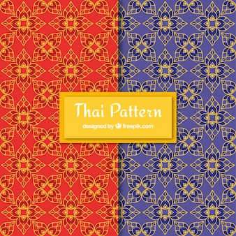 Patrón tailandés colorido con diseño plano