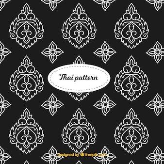 Patrón tailandés elegante en blanco y negro