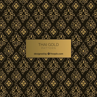 Patrón tailándes elegante con estilo dorado