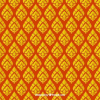 Patrón tailandés elegante con estilo dorado