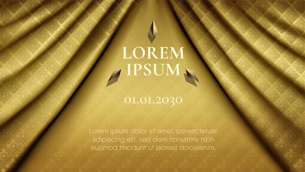 Patrón tailandés tradicional abstracto sobre fondo ondulado liso de cortina de tela de seda de oro oscuro premium