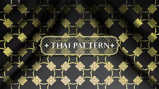 Patrón tailandés tradicional dorado abstracto, conectando flores, sobre fondo de tela de seda negra curva suave ondulada