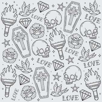 Patrón de tatuaje de la vieja escuela