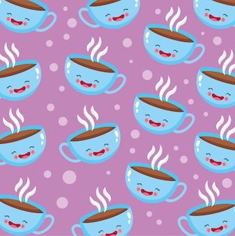 Patrón de taza de café lindo y divertido sonriendo