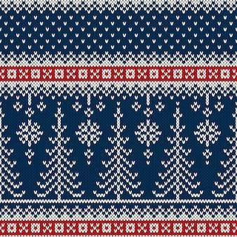 Patrón de tejer sin costuras de vacaciones de invierno con árboles de navidad. suéter tejido