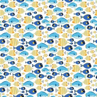 Patrón de tejido sin costuras con peces de mar.