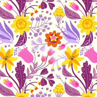 Patrón de tela floral pintado a mano