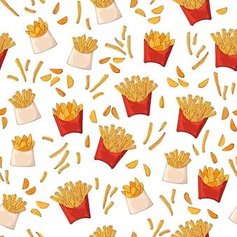 Patrón en el tema de comida rápida: papas de comida rápida.