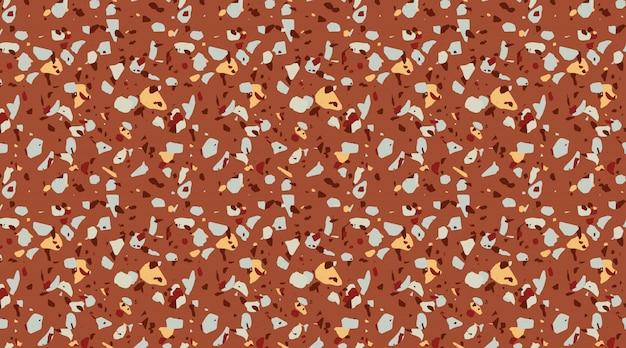 Patrón de terrazo de color marrón terroso. hermoso azulejo, pisos decoración del hogar textura perfecta. patrón de moda moderna superficie de piedra. textura de piedra, mármol, hormigón.